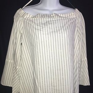 Off The Shoulder Cotton Striped Blouse